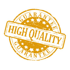 """Gold round stamp with the word """"guarantee high quality"""""""