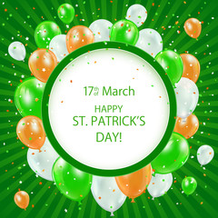Patricks day background with balloons