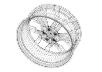Set of car wheels isolated