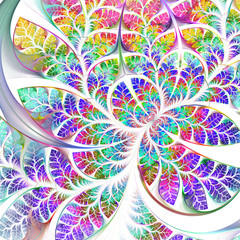 Multicolored fabulous fractal pattern. Collection - tree foliage