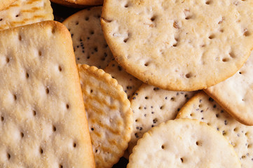 Round and Square Salty Crackers