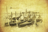 Vintage image of Gondolas at Grand Canal, Venice, Italy