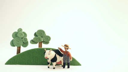 Farmer and his cow - puppet animation