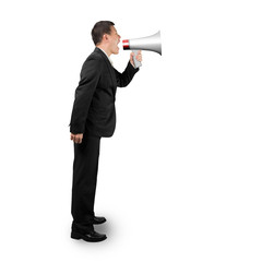 Businessman using megaphone yelling isolated on white