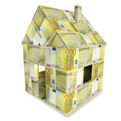 Haus aus 200 Euroscheinen