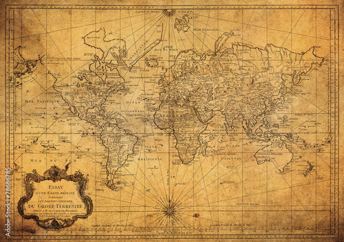 Plakat vintage map of the world 1778