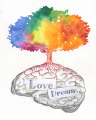 Illustration of tree on a brain full of love and dreams.