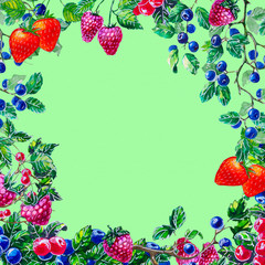 watercolor composition set with berries
