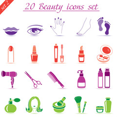 Beauty and makeup icons, vector set of 20 cosmetic signs (set 2)