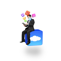 Businessman using smart pad sitting on cloud app icon