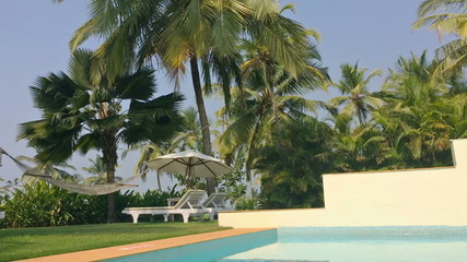 Hammock and plank beds under palm trees at the pool