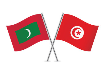 Maldives and Tunisian flags. Vector illustration.