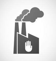 Factory icon with a hand