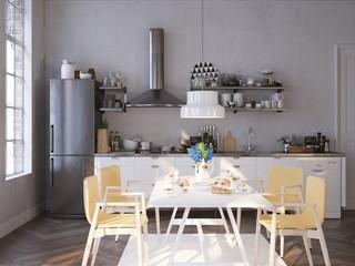 Küche und Esstisch in altem Apartment