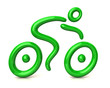 Green bicyclist riding a bicycle