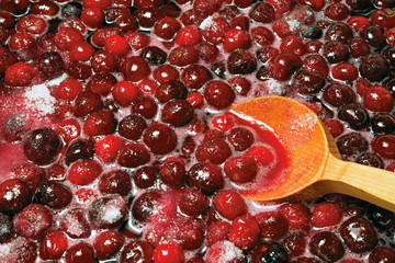 Preparation berry jam or forward to