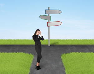 Businesswoman standing near sign and think