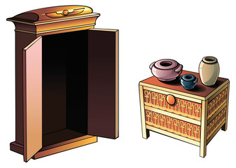 Ancient Egyptian furniture and pottery, vector