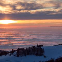 inversion fog in black forest valley, southwest Germany