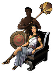 Queen of ancient Greece with her servant, vector