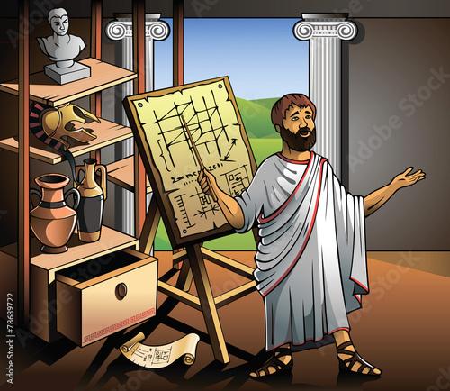 Ancient Greek scientist, represents his invention, vector - 78689722