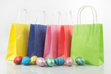 Fototapety Shopping cart with easter eggs