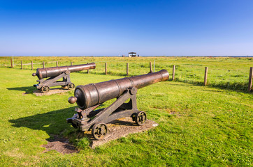 Historical bronze cannon on the south peninsula of Oland island