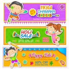 Kids playing Holi with color and pichkari