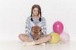 canvas print picture - Mädchen mit Teddybär und Luftballon