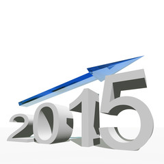 Conceptual 2015 year with an arrow isolated