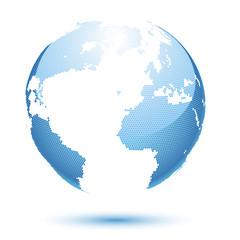Illustration globe design on a blue background. Vector.