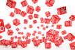 falling percent cubes red