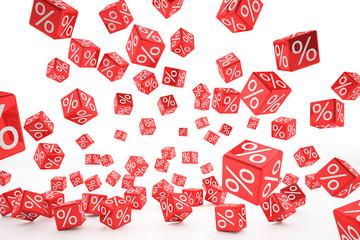 falling percent cubes red