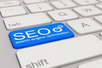 keyboard - search engine optimization - blue