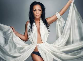Beautiful woman in white dress.