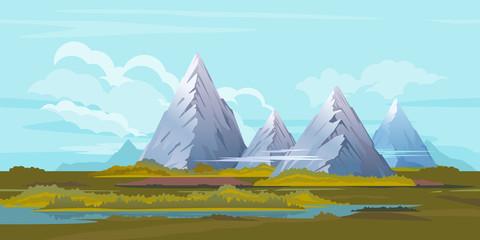 High Mountain Landscape Background