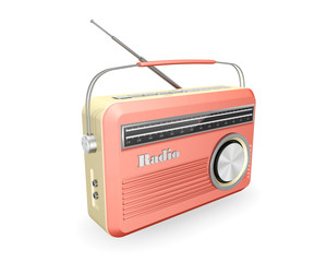 pink  vintage retro  radio  isolated on white background