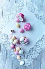 Marzipan easter eggs in pink muffin tins