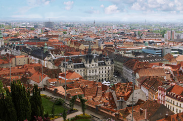 Famous view over the rooftops of Graz City Hall