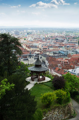 Park with pavilion on a top of hill with a view of Graz
