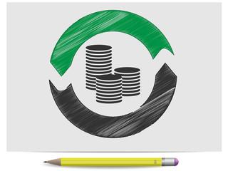 Sketch money coins and arrows
