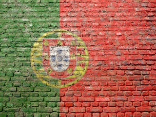 Portugal flag painted on wall