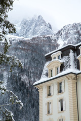 Snow covered house in the mountains