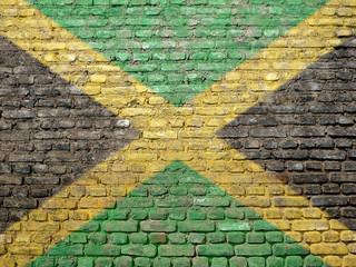 Jamaica flag painted on wall