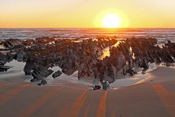 Natural rocks at the atlantic ocean in Portugal at twilight