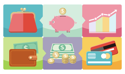 Dollar, purse, coin box pig icons