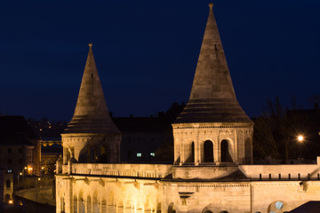 Fisherman Bastion Towers in Budapest, iluminated in the night