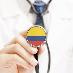 National flag on stethoscope conceptual series - Colombia