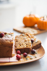 Closeup on freshly baked pumpkin bread with seeds
