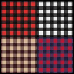 Set of lumberjack plaid seamless patterns